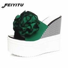 FeiYiTu 2019 New Flowers Woman Beach Flip Flops Summer Slides High Heels Slippers Platform Shoes Female Rubber Wedge Fashion