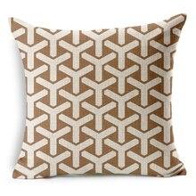 Hot Sale Pillow Covers Brief Color Geometry Pattern New Fashion Design 45X45CM Linen Pillow Cover  Home Decorative cushion case