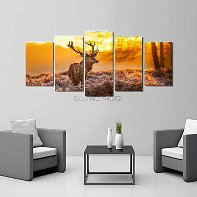 Alce africano Atardecer paisaje Pintura Al Óleo Imagen Cuadros ...