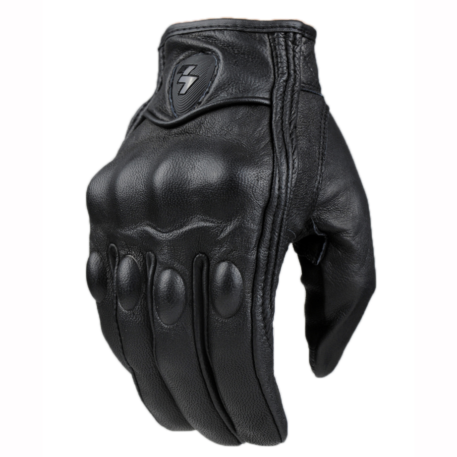 Motorcycle gloves in nepal - Top Guantes Fashion Glove Real Leather Full Finger Black Moto Men Motorcycle Gloves Motorcycle Protective Gears Motocross Glove