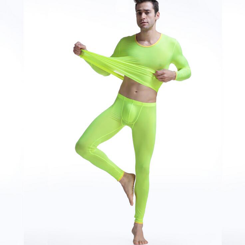 KWAN.Z Mens Thermal underwear suit elastic ultra-thin long johns thermo Underwear silk translucent Pajamas mens top leggings ...