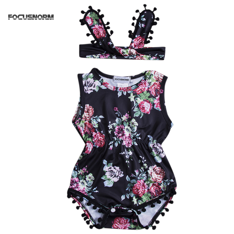 Lovely Baby Girl Romper Clothes 2018 Summer Floral Tassel Jumpsuit +Headband 2PCS Outfit Sunsuit Tracksuit Clothing Set