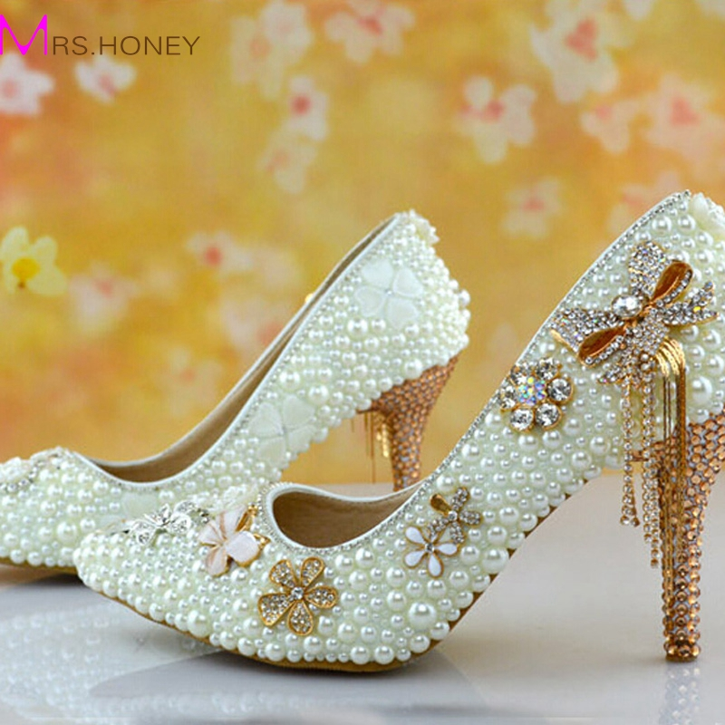 Beautiful Ivory Pearl Wedding Shoes High Heel Bridal Shoes Pointed Toe font b Bridesmaid b font