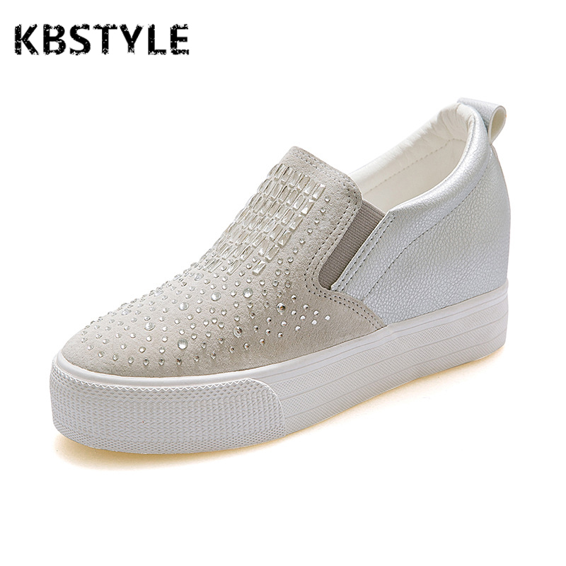 KBSTYLE Spring/Autumn Women Flats Shoes Fashion Casual Flat Platform Solid Stitching Leather Crystal Slip-On Big Size Lazy Shoes new 2015 fashion high quality lazy shoes women colorful flat shoes women s flats womens spring summer shoes size eu35 40wsh488
