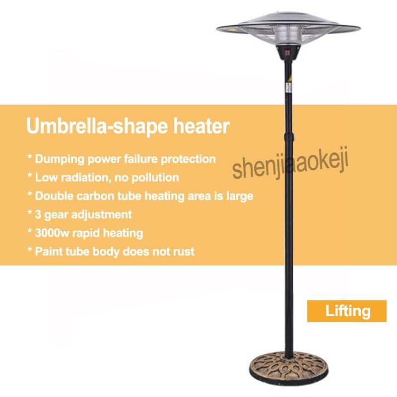 Réchauffeur d'air extérieur chauffage électrique haute puissance parapluie-forme chauffage 3 vitesses ajuster le Dumping 45 degrés pour éteindre 220 v 1 pc