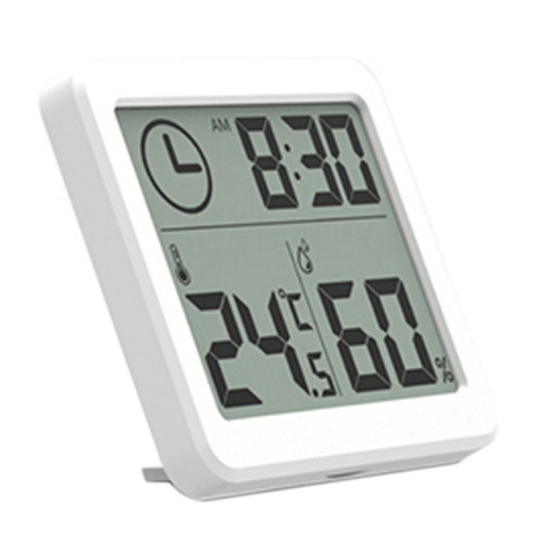 Home Cute Digital Thermometer Hygrometer Alarm Clock Indoor Thermo-hygrometer with Temperature Gauge Standing Magnet Attaching