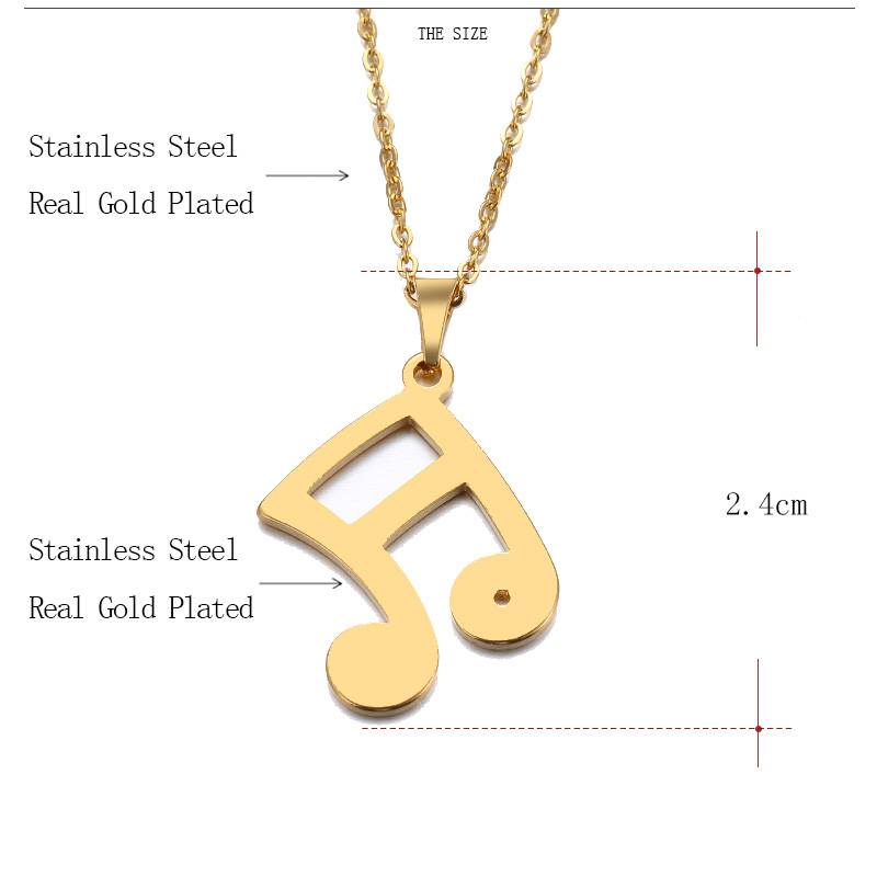 Cacana Stainless Steel Necklace Musical Notes Gold And Silver 93