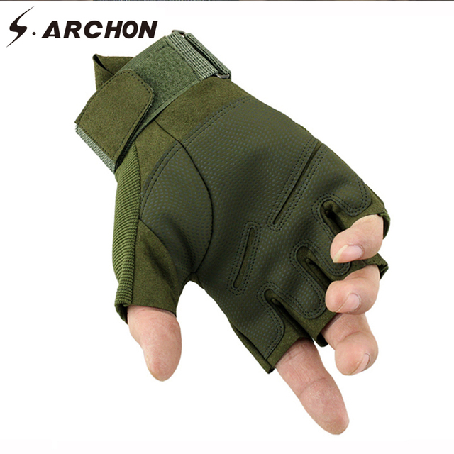 S.ARCHON US Army Tactical Fingerless Gloves Men Anti-Skid Half Finger Military Shooting Mittens Male SWAT Fighting Combat Glove 1