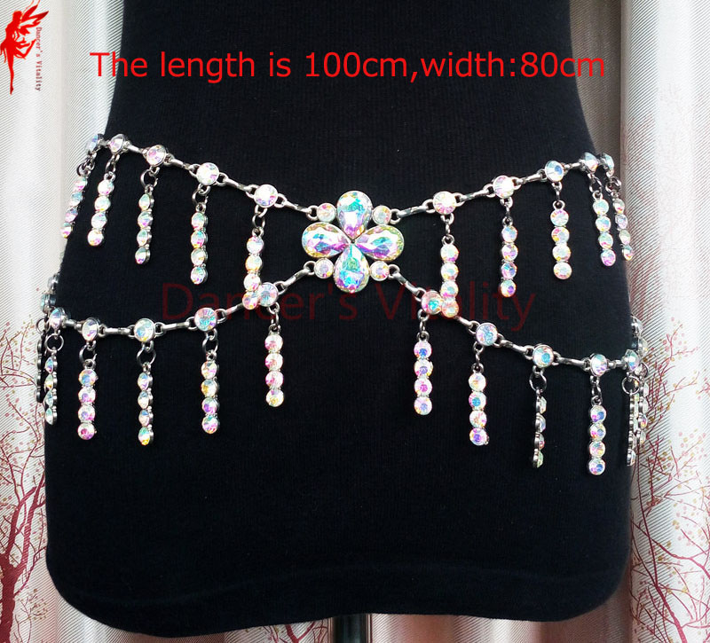 Lady Belly Dance Accessories Women Belly Dance Tassel Colors Stones Hip Scarf Girls Belly Dance Stones Belt Dancer Props Belts