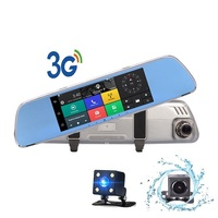 DVR 3G Android GPS 7.0in Rearview Mirror Camera ROM 16GB Night Vision Car Video Recorder Car Dvr With Two Cameras