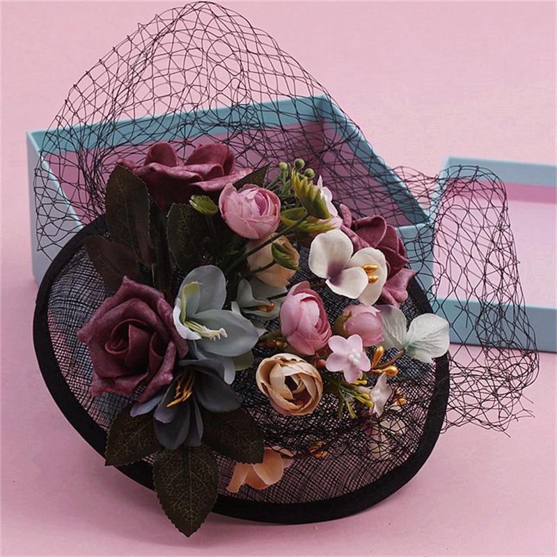 Фото Мори винтажная черная Легкая шляпа Корейская Невеста головной убор цветок голова волос платье украшения 0411-07