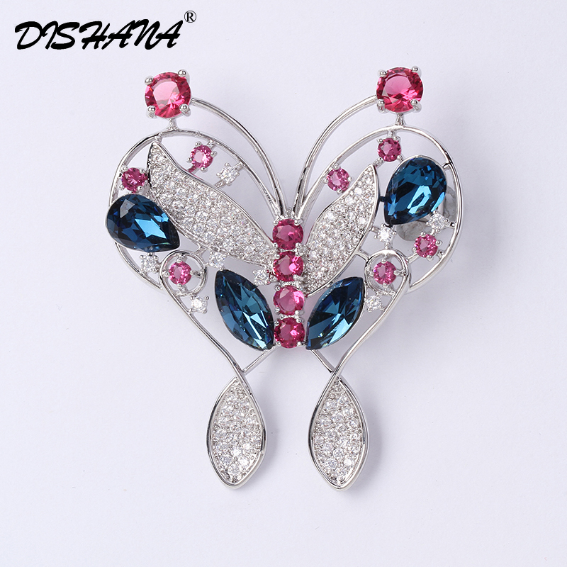 2017 Dishana Broches Jewelry Fashion Rhinestone Broches For Women Safety Pins and Brooches Wedding Party Butterfly Jewellery