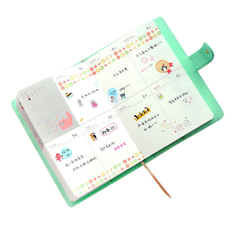 Cute PU Leather Floral Flower Schedule Book Diary Weekly Planner Notebook School Office Supplies Kawaii Stationery a6 cute spiral notebook notepad pu leather colored flamingo sakura planner kawaii diary book school office supply papelari