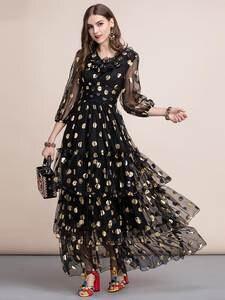 Dress Women's Party-Gown Mesh Ld Linda Black Maxi A-Line DELLA Ruffles-Dot Tiered-Layer