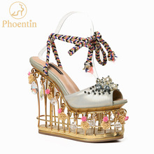 Phoentin花結婚式の靴女性プラットフォームクリスタル花嫁の靴金属スーパーハイヒール15センチレースアップレディースサンダル2018 FT431