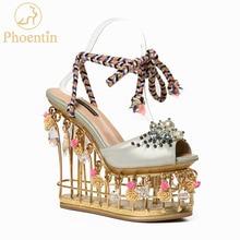 Kasut perkahwinan bunga Phoentin wanita platform kristal kasut pengantin logam super tumit tinggi 15cm lace up wanita selipar 2018 FT431