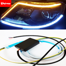 12V Day Light Led Car Flexible 45cm LED Strip Lamp Headlight Day time Running Lights Flowing White Turn Yellow Signal Lights 4 led 12v vehicle signal lights 2 pack yellow