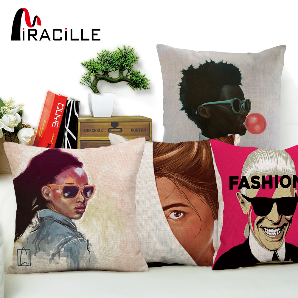 Miracille Moda Lady Pop Art Pattern Cushion Cover Dormitor Decorative perne Cazuri Pagina de decor Bumbac Linen Square 18inches