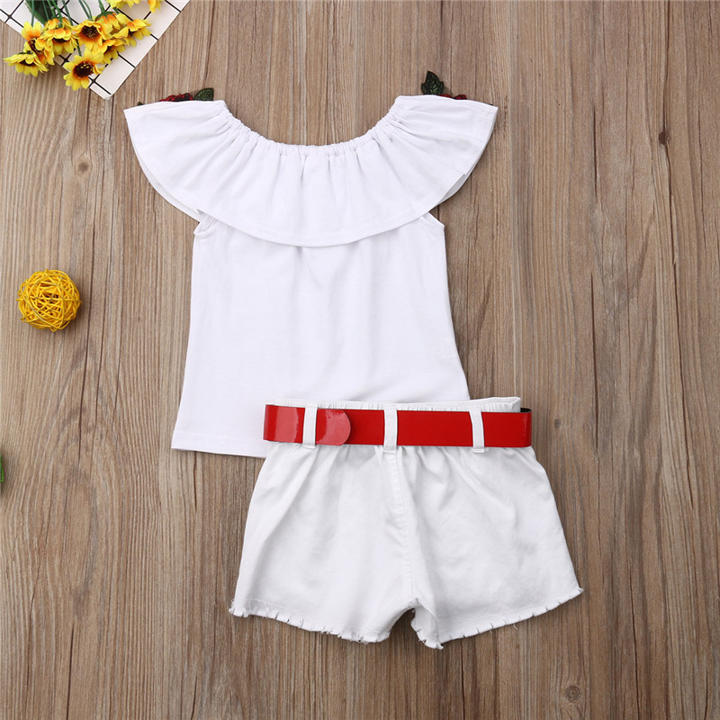 Summer Girls Clothes Sets Baby girls Sling T-shirt And Shorts Suit Tracksuit For Kids Clothes Fashion Children Clothing Set (9)
