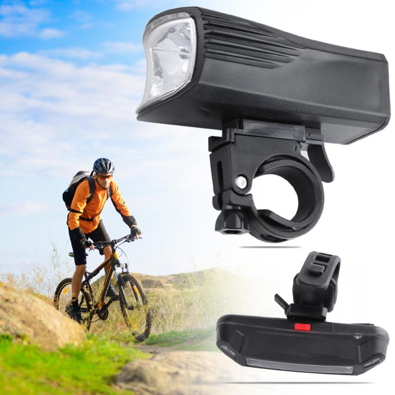 Rechargeable MTB Road Bike Front + Rear Lights Set Mountain Bicycle Safety Headlight Tailight Set Outdoor Cycling Riding Light 1pcs bicycle fender with cycling glasses mtb mountain road bike mud guards fender front rear mudguard bike bicycle accessories