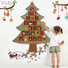 FENGRISE Christmas Tree Advent Calendar Products Wall Hanging Felt Advent Calendar Christmas Decorations for Home 2019 New Year все цены