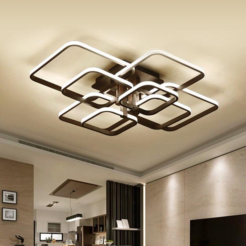 Moderne LED Lustre luminaires pour salon décor à la maison noir chambre lampes avec télécommande Dimmable salle à manger Lustre