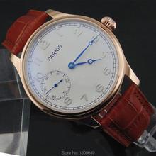 44mm parnis 화이트 다이얼 블루 핸드 케이스 기계식 6497 핸드 와인딩 남성 시계