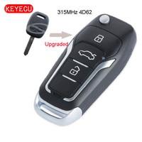 Keyecu는 Subaru Impreza Forester Outback 용 플립 원격 차량 키 2 버튼 Fob 315MHz 4D62 칩을 업그레이드했습니다.
