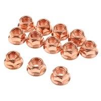 12 pçs de cobre flashed aço exaustão manifold turbo nuts m8 peças substituição do sistema escape para bmw série 3 e30|Coletores de escape| |  -