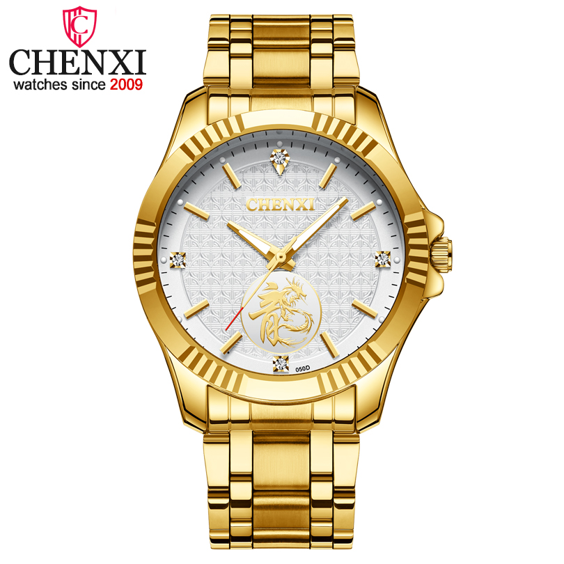 CHENXI Hommes D'or Montres Homme Marque De Luxe Montre À Quartz Hommes D'affaires Montre Horloge Mâle Militaire Relogio Masculino Montres