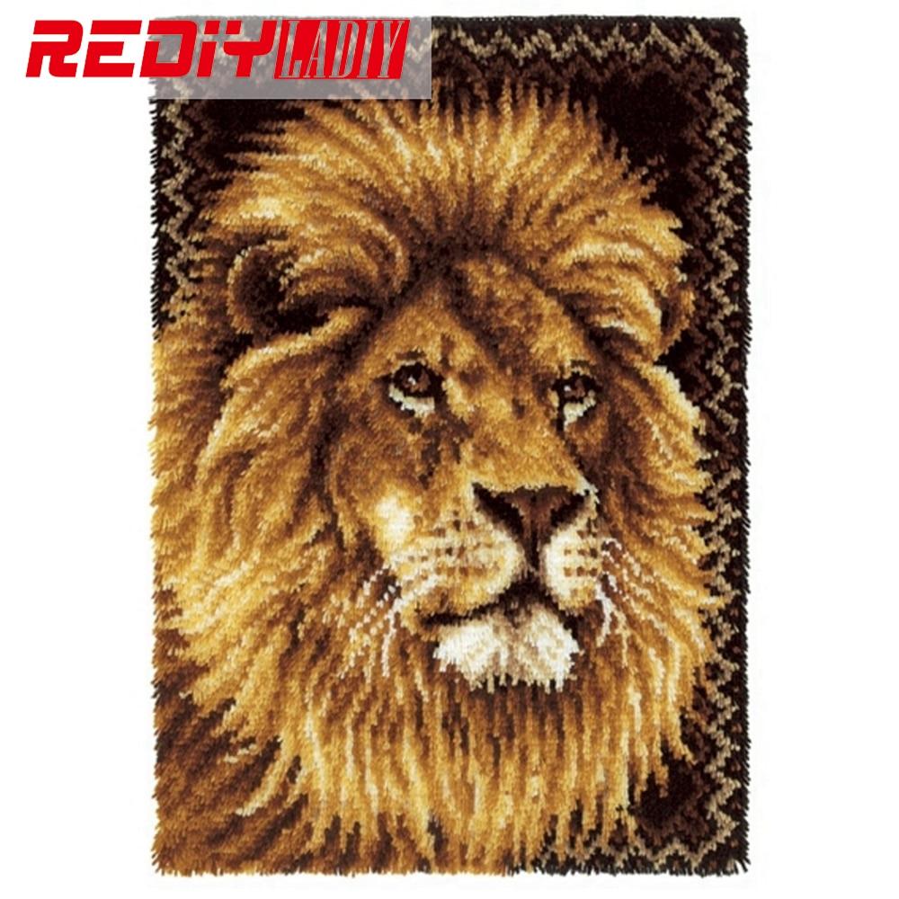Лидер продаж, набор ковриков с крючками защелками для рукоделия, незавершенный ковер для вязания крючком, коврик для подушки, вышитый король льва, ковер, бесплатная доставка