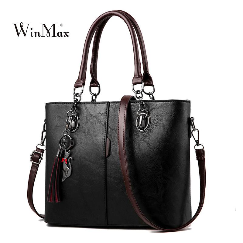 Women Leather Handbag Vintage Shoulder Bag Female Casual Tote Bags High Quality Lady Designer Handbags sac a main Bolsa Feminina aosbos women shoulder bags multifunctional waterproof nylon handbag lady casual portable black tote bag female designer handbags