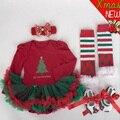 Novos Conjuntos de Roupas de Bebê Menina Infantil Presentes De Natal Rendas Tutu Vestido Jumpersuit Romper + Headband + Sapatos 4 pçs/set bebe primeiro presente