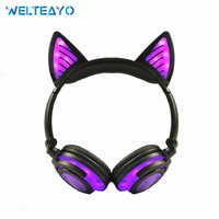 Bluetooth Headphones Earphones Animal Cat Ear Wireless Headphone LED Flashing Glowing Gift Headset for Kids Girls Boys Earbuds
