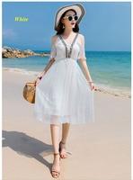 Новое прибытие леди чистый шелк шифон v образный вырез с открытыми плечами летнее платье, 100% шелк Бисероплетение Лента с эластичной талией п