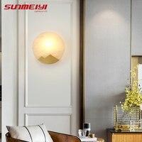 Lâmpadas de parede led moderno mármore natural cobre luz da parede para sala estar cabeceira corredor lampara pared arte deco quarto lâmpada Luminárias de parede     -