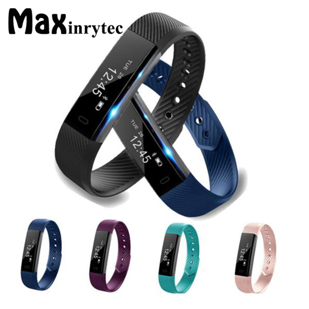 Maxinrytec ID115 Heart Rate Bluetooth Smart Wristband Fitness Tracker Smartband Pedometer Wrist Band for Android IOS cell Phone