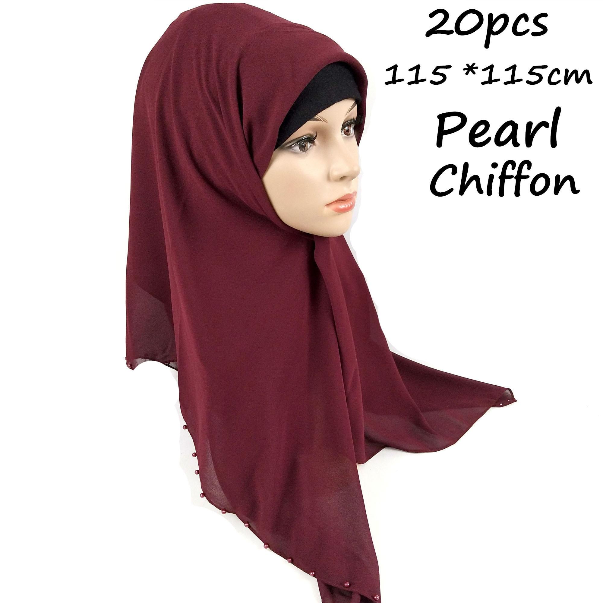 H11 20pcs  High Quality Bead Square Chiffon Hijab 115 *115cm  Wrap Shawls Women Scarves Scarf  Long Shawl Top Sell