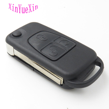 XinYueXin Flip Remote Key Fob Case Shell for Mercedes for Benz 2Button Replacement Flip Key Cover HU64 Uncut Blade
