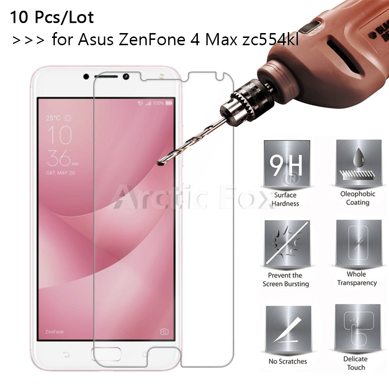 10 Pcs/Lot 2.5D 0.26mm 9H Premium Tempered Glass For Ausu ZenFone 4 Max zc554kl Screen Protector Toughened protective film