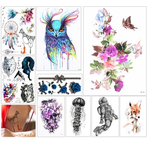 Image 2 - 1000 Pieces Wholesale Waterproof Temporary Tattoo Sticker 3D Decal Flower Owl Eagle Body Art Tattoo Sticker Sexy Makeup Products
