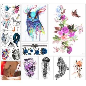 Image 2 - 1000 pièces en gros imperméable temporaire tatouage autocollant 3D décalque fleur hibou aigle corps Art tatouage autocollant Sexy maquillage produits
