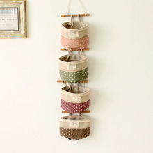 Organizer Storage-Bag Hanging Wardrobe Wall-Pouch Linen Cotton Cosmetic-Toy Multifunction