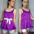 Satin Blouse Ladies Back Lace up Tops 2016 Summer Style Women Elegant Purple Peplum Blouses blusa