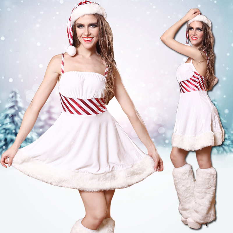 2019 Hot Seller Women Christmas Dress Sexy Christmas Costumes Santa Claus for Adults White Princess Uniform Kimono Xmas Costume