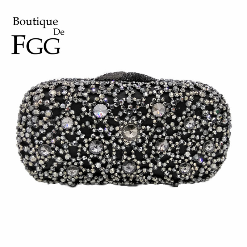Charcoal Gray Crystal Evening Clutches Bag For Women Hollow Out Handbag and Purse Bridal Rhinestones Clutch Wedding Box Clutch gold plating floral flower hollow out dazzling crystal women bag luxury brand clutches diamonds wedding evening clutch purse