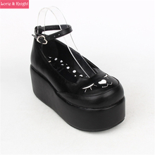 Japanese Harajuku Smilling Kitty Thick Platform Black Leather Wedge Lolita Cosplay Shoes