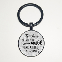 Teacher, day care provider, teacher charm keychain, appreciation gift, changing the world gift once a child