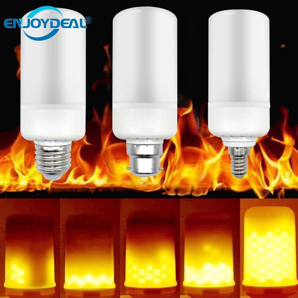 B22 LED Ampoule Lumière Brûlante Lampe Flamme Effet de Feu Noël Maison Décor