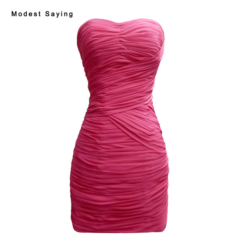 Sexy Straight Sweetheart Fuchsia Pleated Short Party   Cocktail     Dresses   2017 Fashion Zipper Mini Prom Gowns robe de   cocktail   YC44